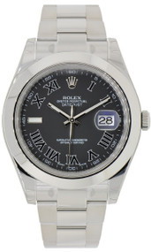 Rolex Datejust II Gray Dial Roman Smooth Oyster Links Men Watch 116300