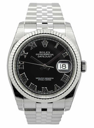Rolex DateJust 36 Black Dial Roman Fluted Jubilee Unisex Watch 116234