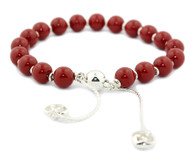 Gucci Boule Britt Red Varnished Wood Bead Silver Bracelet YBA286673001