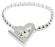 Gucci Toggle Heart Logo Engraved Sterling Silver Bracelet YBA181447001