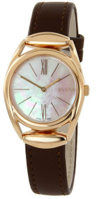 Gucci Horsebit Pearl Dl BRN Leather Pink Gold PVD Women Watch YA140507