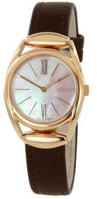 Gucci Horsebit Pearl Dl BRN Leather Pink Gold PVD Women Watch YA140507