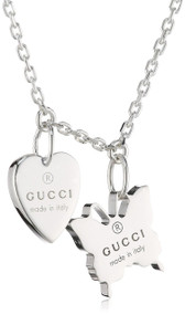 Gucci Trademark Heart Butterfly Pendants Silver Necklace YBB223983001