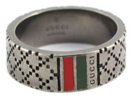Gucci Diamante Pattern Aging Finish Silver Thin Men Ring YBC295675001
