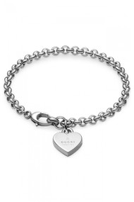 Gucci Trademark Engraved Heart Charm Silver RP Bracelet YBA356210001