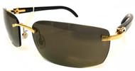 Cartier Decor C Marble Black Buffalo Horn Gray Men Sunglasses ESW00080