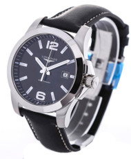Longines Conquest Black Leather 41MM Men's Watch L36594583 / L37594583