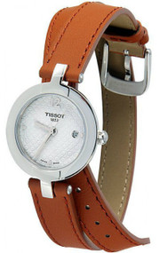Tissot T-Lady Pinky WHT Dial Brown Leather Women Watch T0842101601704