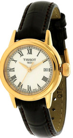 Tissot Carson White Dial Brown Leather Band Women Watch T0852103601300