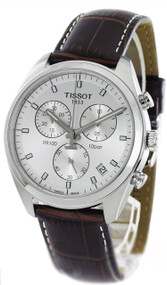 Tissot PR 100 Chronograph Silver Dial Leather Men Watch T1014171603100