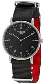 Tissot Everytime Rhodium Dial Black Fabric Band Watch T1094101707700