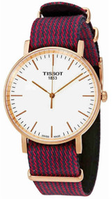 Tissot Everytime M Silver Dial Red Blue Fabric Watch T1094103803100