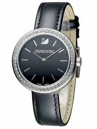 Swarovski Daytime Black Sunray Dial 48 Crystals Leather Watch 5172176