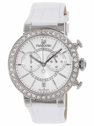 Swarovski Citra Sphere Chronograph Sunray White Leather Watch 5027127