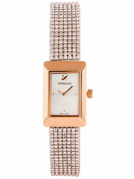 Swarovski Memories Mesh Silvery Crystals Rose Gold Tone Watch 5209184