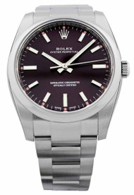 Rolex Oyster Perpetual 34 Red Grape Index Domed Oyster SS Watch 114200