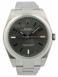 Rolex Oyster Perpetual 39 Rhodium Dial Index Domed Oyster Watch 114300