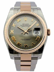 Rolex Datejust 36 Steel Roman Fluted 18ct Rosegold Oyster Watch 116231