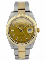Rolex Datejust 41 Champagne Dial Index Fluted Oyster Auto Watch 126333