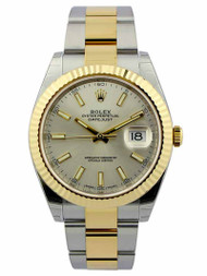 Rolex Datejust 41 Silver Dial Index Fluted Oyster SS/YG Watch 126333