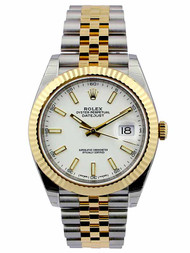 Rolex Datejust 41 White Dial Index Fluted Jubilee SS/YG Watch 126333