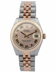 Rolex Datejust 31 Pink Dial Roman Fluted Jubilee SS/RG Watch 178271