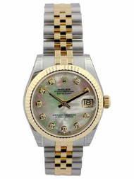 Rolex Datejust 31 MOP Diamond Fluted Jubilee Links SS/YG Watch 178273