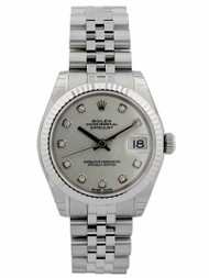 Rolex Datejust 31 Silver Diamond Fluted Jubilee Links SS Watch 178274