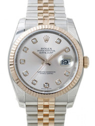 Rolex Datejust 36 Silver Dial DIA Fluted Jubilee SS/RG Watch 116231