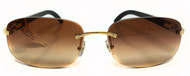 Cartier Brown Lenses Golden Metal Horn Temple Sunglasses T8300746