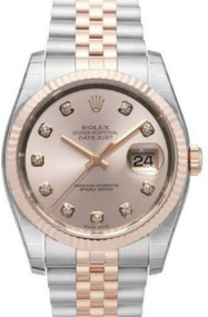 Rolex Datejust 36 Pink Dial Diamond Fluted Jubilee SS/RG Watch 116231