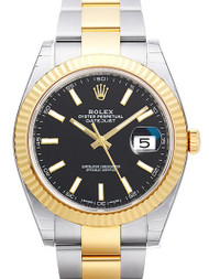 Rolex Datejust 41 Black Dial Index Fluted Oyster SS/YG Watch 126333