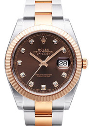 Rolex Datejust 41 Chocolate Dial DIA Fluted Oyster SS/RG Watch 126331
