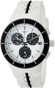Swatch PISTE NOIRE Chronograph White Black Rubber Band Watch SUSW407