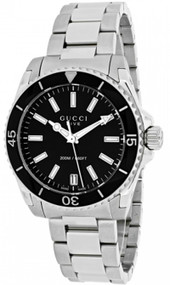 Gucci Dive Medium Black Lacquered Dial Steel Women Watch YA136403