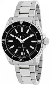 Gucci Dive Medium Black Lacquered Dial Steel Women Watch YA136403