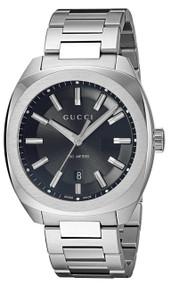 Gucci GG2570 MED Black Sun-Brushed Dial G Frame Steel Watch YA142401
