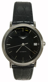 Longines Presence PVD BLK Leather Auto Watch L48214522 / L4.821.4.52.2