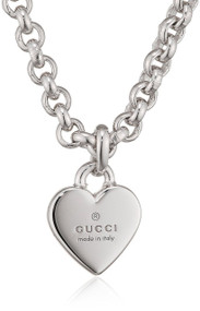 Gucci Trademark Heart Pendant Sterling Silver Necklace YBB35622500100U