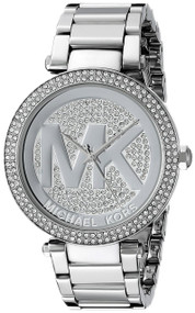 Michael Kors Parker Silver Crystal Pave Dial Steel Women Watch MK5925