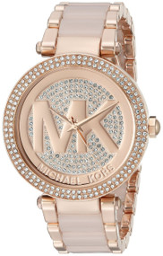 Michael Kors Parker Crystal Pave Dial Rosegold SS Women Watch MK6176