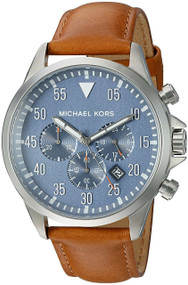 Michael Kors Gage Chronograph Blue Dial Brown Leather Men Watch MK8490