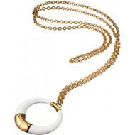 D & G Dolce & Gabbana Golden Chain Hoop Pendant Alloy Necklace DJ0643