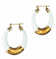 D & G Dolce & Gabbana Clue White Resin Gold PVD Hoop Earrings DJ0645