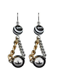 D & G Dolce & Gabbana  Black White Resin Beads Hanging Earrings DJ0833