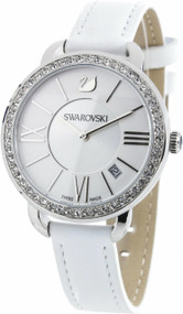 Swarovski Aila Day 52 Clear Crystals White Leather Women Watch 5095938