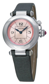 Cartier Miss Pasha Pink Dial Gray Satin Strap Women Watch W3140026