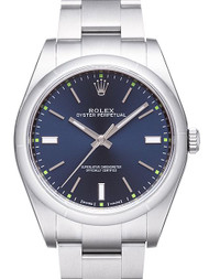 Rolex Oyster Perpetual 39 Blue Dial Index Domed Oyster SS Watch 114300