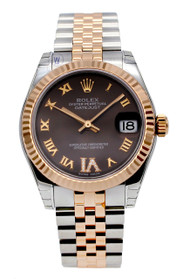 Rolex Datejust 31 Chocolate Dial Large VI Diamonds RG Watch 178271