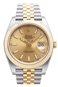 Rolex Datejust 41 Champagne Dial 18ct Yellow Gold Steel Watch 126333